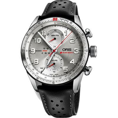 Oris Audi Sport 鈦限量聯名計時腕錶-銀/44mm