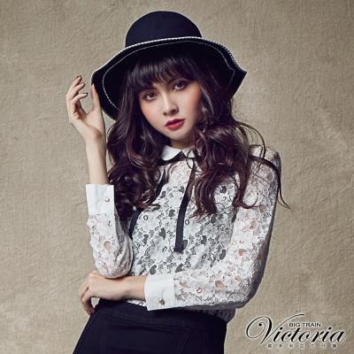 Victoria 全蕾絲長袖襯衫-女-白色
