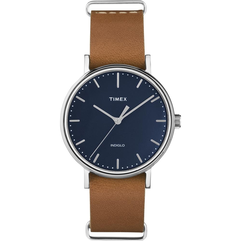 TIMEX 天美時週末Fairfield系列時尚女錶-藍x咖啡/37mm