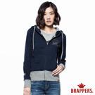 BRAPPERS 女款 亮片標誌連帽長袖拉鍊外套-丈青