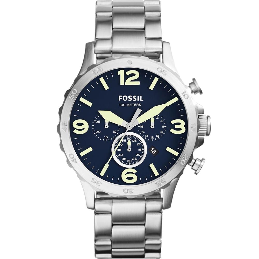 FOSSIL Nate悍衛戰士大錶徑計時腕錶-深藍X銀/50mm