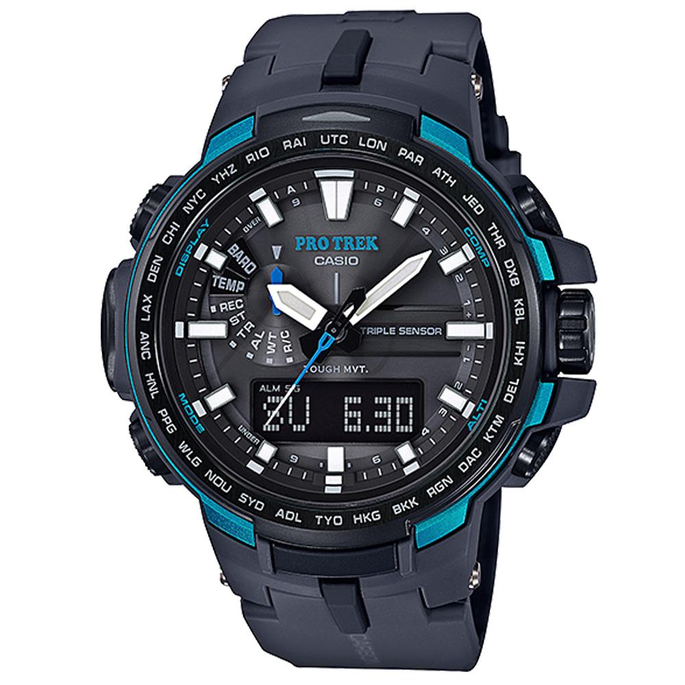 PROTREK酷黑新裝備三大感應低耗量電波錶(PRW-6100Y-1A)藍邊/51.6mm