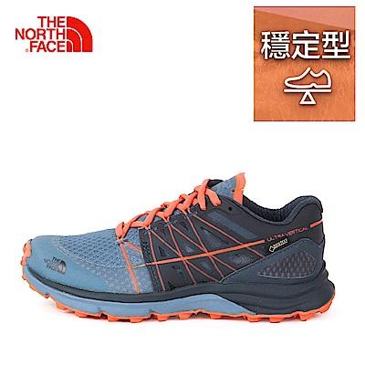 The North Face北面女款藍橘色抓地耐磨跑步鞋