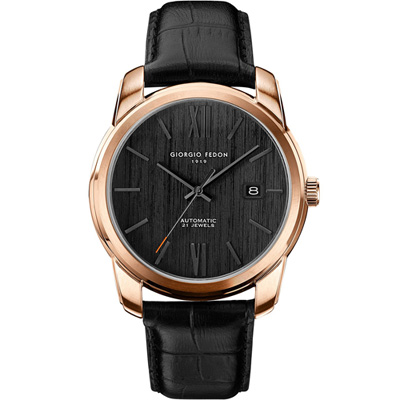 GIORGIO FEDON 1919   義大利創新意念機械錶-黑x玫瑰金色/43mm
