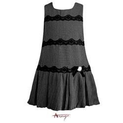 Anny氣質優雅蕾絲條紋A字紋洋裝*4227黑