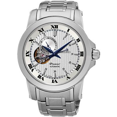 SEIKO Premier 24小時顯示開芯機械錶(SSA275J1)-銀/41mm