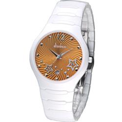Diadem 黛亞登 魔幻星空白陶瓷時尚腕錶-橘黃/36mm