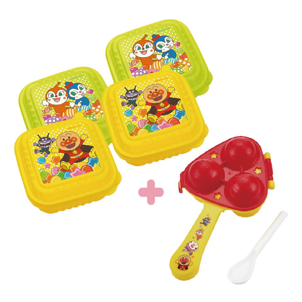 麵包超人-日製方型保鮮盒2入組(大)x2+小飯糰製造器