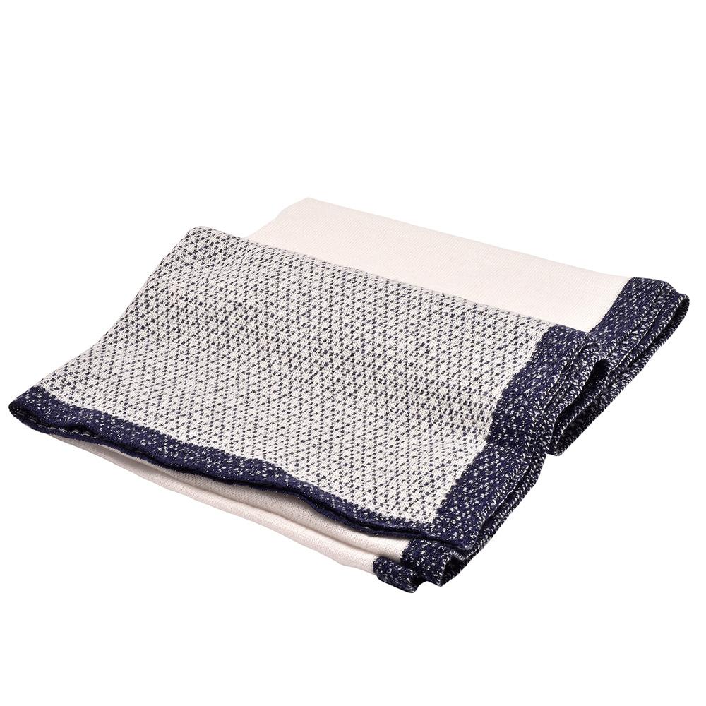 CHANEL 經典雙C LOGO造型金屬光針織披巾/圍巾(海軍籃X淺灰)