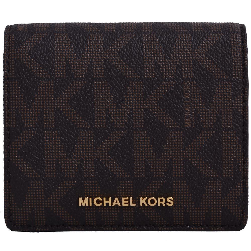MICHAEL KORS Jet Set金字滿版皮革雙折扣式短夾-咖啡