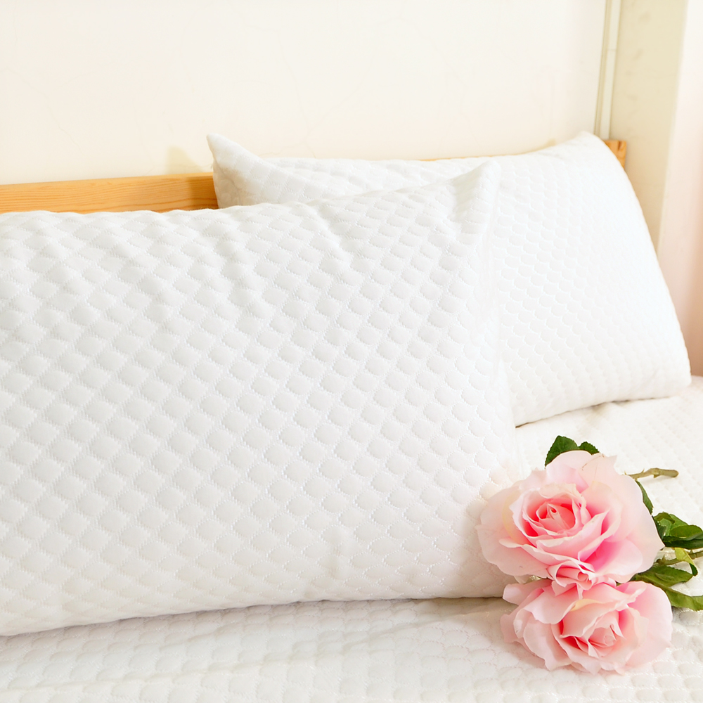 亞曼達Amanda 防水抗菌緹花透氣枕頭保潔墊 枕頭套-2入組