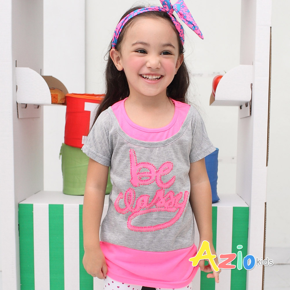 Azio Kids-英文造型假兩件T(2色)