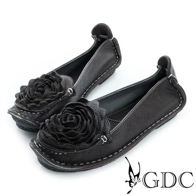 GDC-立體花朵造型荔枝紋真皮平底娃娃鞋-咖啡色
