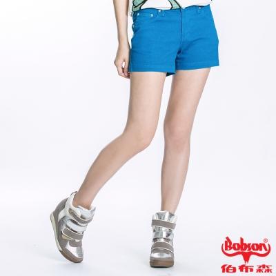 BOBSON 女款套染短褲(寶藍196-51)