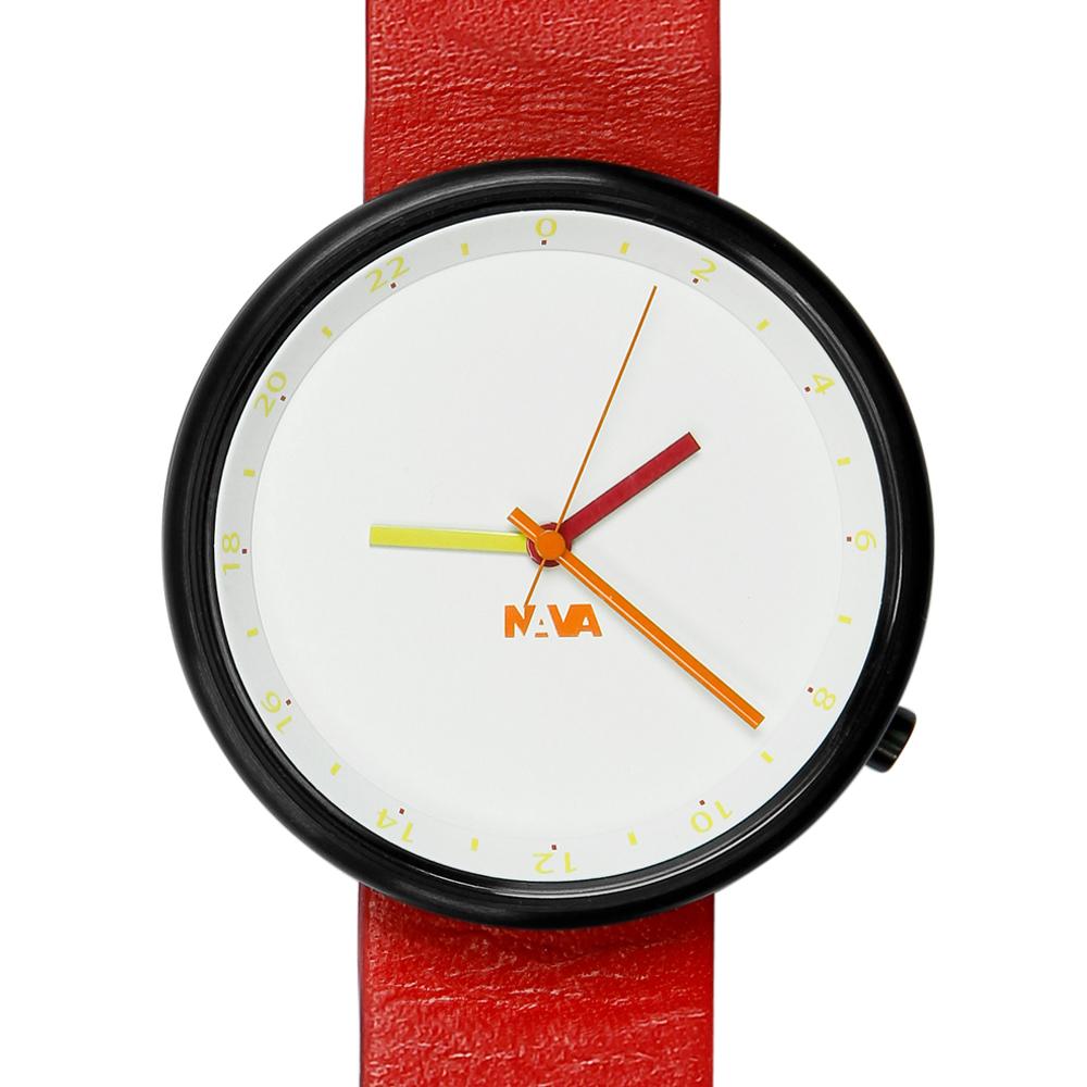 NAVA DESIGN Wherever 雙時區腕錶-紅/40mm