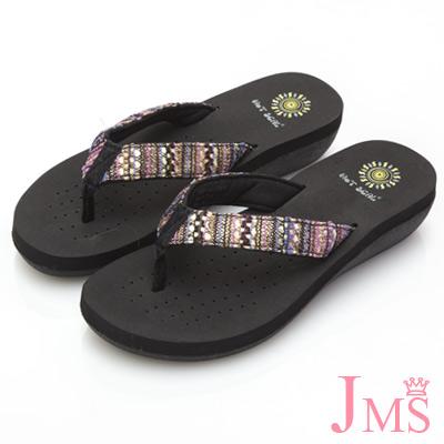 JMS-彩色圖騰編織麻繩編織夾腳海灘拖-紫色