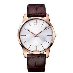 CK CALVIN KLEIN City 都會系列鍍PVD金白面手錶-43mm