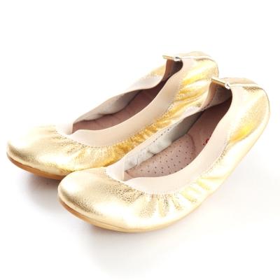 G.Ms.旅行女孩II-金屬羊皮鬆緊口可攜式軟Q娃娃鞋(附鞋袋)-淺金