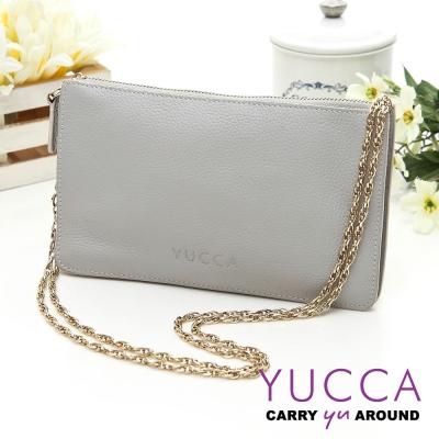YUCCA - 牛皮淑女優雅手拿鏈帶包-灰色 D0020033009