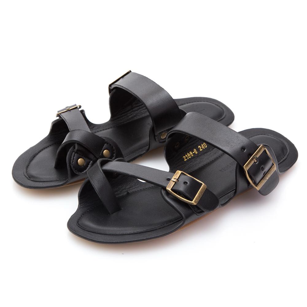JMS-出遊必備舒適皮革夾腳平底拖鞋-黑色
