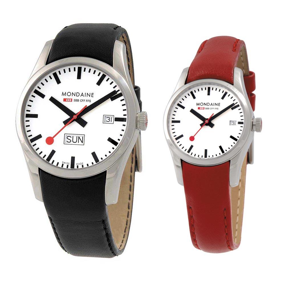 MONDAINE 瑞士國鐵藍寶石水晶對錶