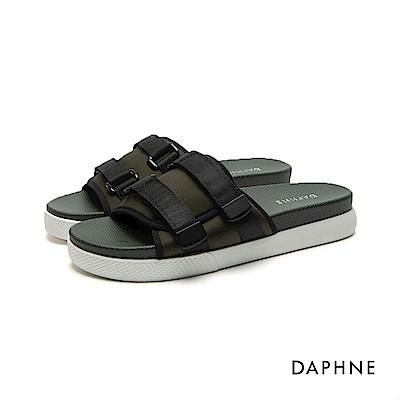 達芙妮DAPHNE 拖鞋-運動織帶套腳撞色拖鞋-綠