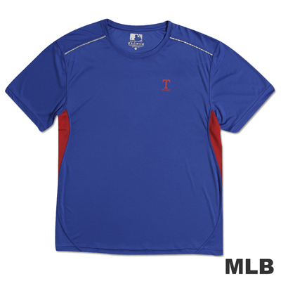MLB-德州遊騎兵隊反光合身吸濕排汗T恤-藍(男)