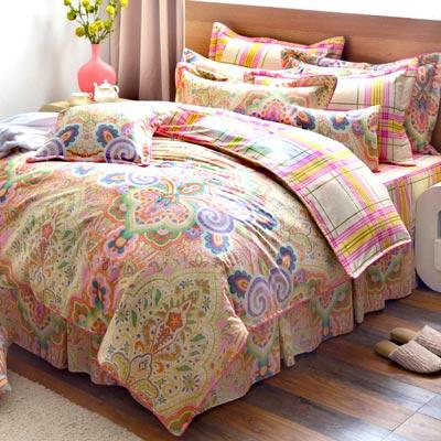 Grace Life 瑰麗綻放 精梳純棉雙人兩用被床罩八件組