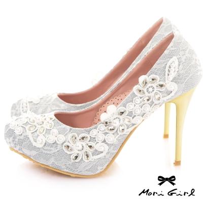 Mori girl手工縫製水鑽珍珠典雅高跟婚鞋 銀白