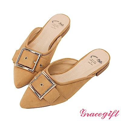 Grace gift-絨布大方釦尖頭穆勒鞋 杏