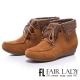 Fair-Lady-冰雪魅力麂皮綁帶毛雪靴-駱駝