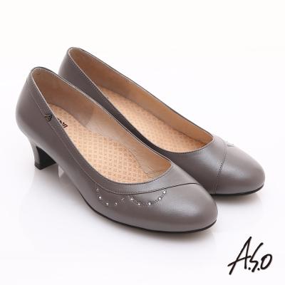A.S.O 舒活寬楦 全真皮弧形水鑽造型低跟鞋 淺灰