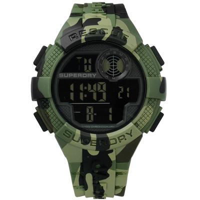 Superdry 極度乾燥 潮流迷彩計時電子運動矽膠手錶-軍綠色/50mm