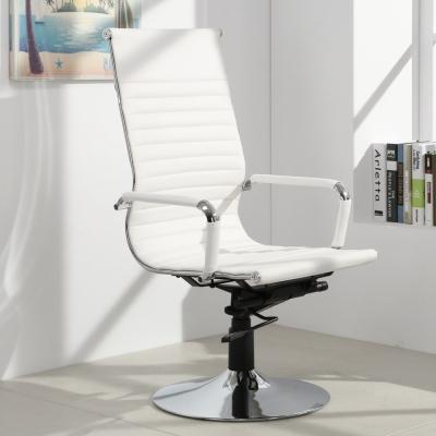 LOGIS邏爵-安菲米皮革高背吧椅 梳妝椅 辦公椅 事務椅-白色