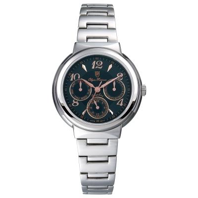 Olym Pianus 奧柏表  Vogue。輕時尚三眼計時都會腕錶-黑/34mm