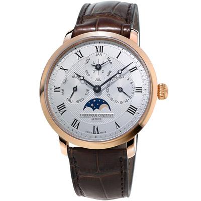 康斯登 CONSTANT Manufacture系列超薄萬年曆腕錶-咖啡色/42mm