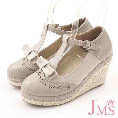 JMS-異材質拼接蝴蝶結T字楔型娃娃鞋-杏色