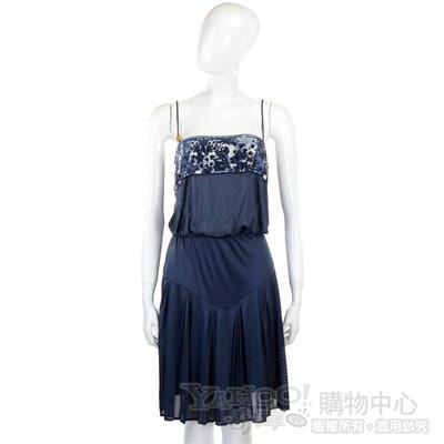 CLASS roberto cavalli 藍色拼接花布細肩帶洋裝