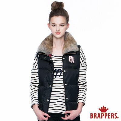 BRAPPERS 女款 女用兔毛領仿絨棉背心-黑