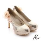 A.S.O 璀璨注目 真皮立體飾花金蔥布貼鑽高跟鞋 金色