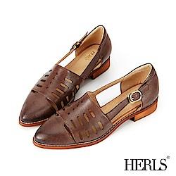 HERLS 愜意午後 全真皮洞洞鏤空低跟涼鞋-咖啡色