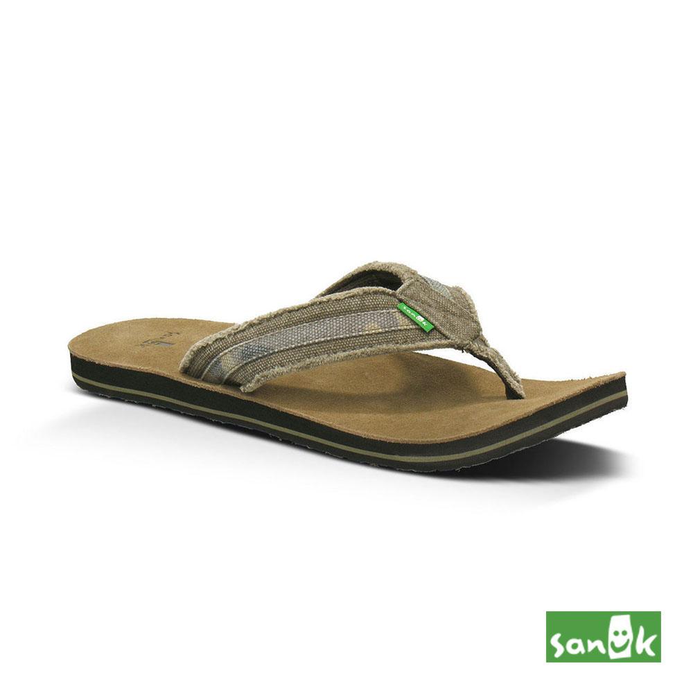 SANUK 麂皮底編織人字拖鞋-男款(墨綠色)