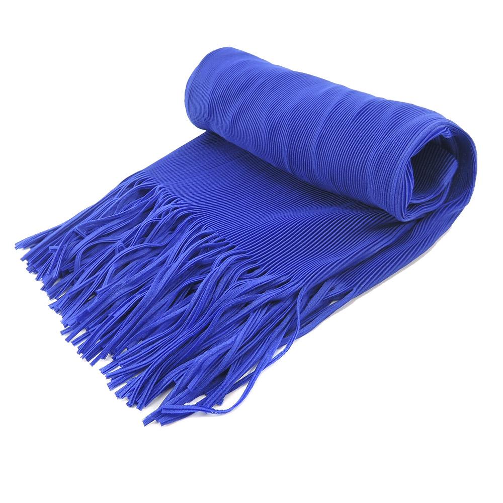 ISSEY MIYAKE 三宅一生PLEATS PLEASE褶紋流蘇圍巾(寶藍)