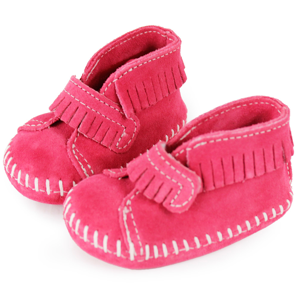 MINNETONKA 粉紅色一體成形流蘇麂皮莫卡辛 嬰兒鞋 (展示品)