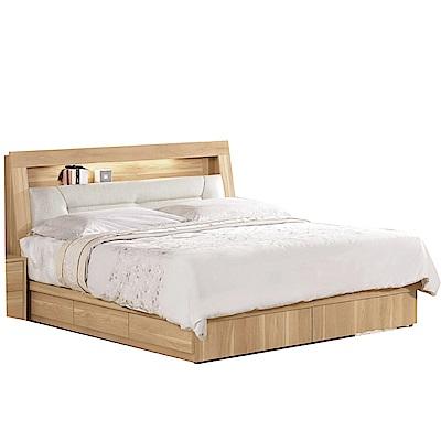 品家居  百莉5尺皮革雙人收納床台組合(不含床墊)-158x215x100cm免組