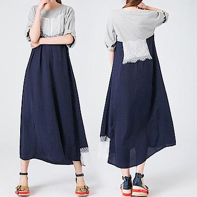 輕盈仿絲毛鬚蕾絲寬版洋裝-(共二色)Andstyle