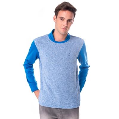 【hilltop山頂鳥】男款圓領保暖刷毛上衣H51MF8藍
