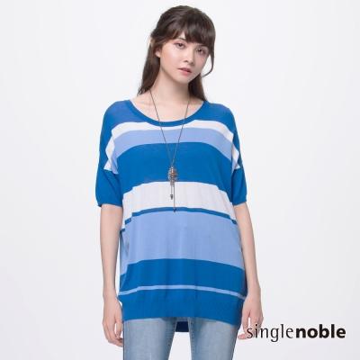獨身貴族 簡約休閒經典寬條紋圓領針織衫(3色)