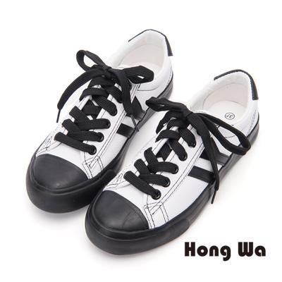 Hong Wa 隨興百搭牛皮綁帶休閒鞋- 黑白