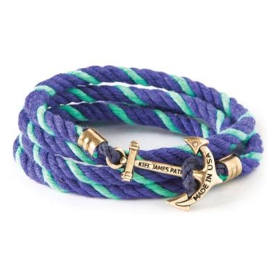 Kiel James Patrick 美國手工船錨棉麻繩多圈手環 藍綠色編織